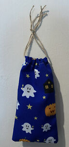 Handmade Halloween Pumpkin Ghost Stars Pattern Drawstring Gift Storage Bag