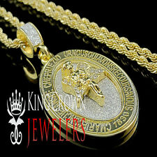 NEW MENS LADIES GOLD FINISH PRAYING HANDS ANGEL CHARM PENDANT CHAIN NECKLACE SET