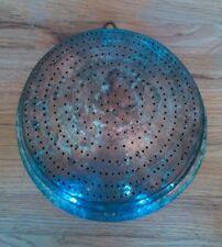 """Antique Hammered Copper Colander 12"""" with Hanger"""