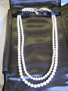 Tiffany 2 strand cultured pearl necklace with clasp 925 silver  Ziegfeld 5-6mm