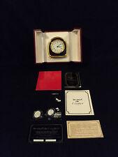 """RARE """"Must de Cartier"""" CARTIER TRAVEL / DESK ALARM CLOCK, ORIGINAL BOX, PAPERS"""