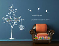 Wall Decor Art Vinyl Removable Mural Decal Sticker Tree With Birds Cage DC010760