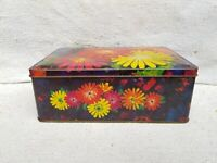 1960s Vintage Floral Pattern Flower Design Confectionery Tin Box