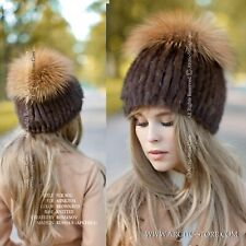 Original Russian Fur Hat WIG Beanie Exclusive Design Brown Mink Gold Fox NEW