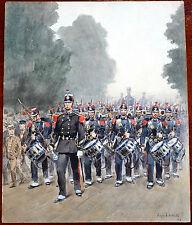 Napoleonic Military Alphonse Lalauze Original Watercolor / Gouache 1894 2-Sided