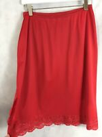 Vassarette Hollywood Red Half Slip Antron,Nylon Tricot Lace Made in USA Medium
