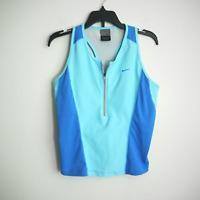 Nike Dri Fit Women's Blue Athletic Racerback Tank Top / Bra Workout Zip V Nk Med