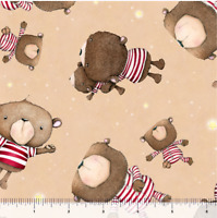 Stuffed Bear Toss Tan Premium Quilting Treasures 100% cotton fabric by the yard