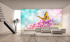 Photo Wallpaper Butterfly on Flower GIANT WALL DECOR PAPER POSTER FOR BEDROOM
