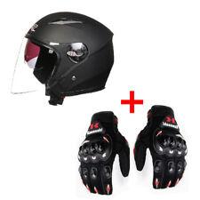 Motorcycle Helmet 3/4 Open Face Half Helmet Full Shield Visor Helmet Unisex New