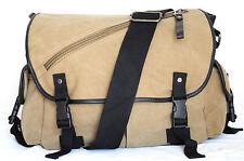 Khaki Messenger Canvas Bag Multi Pockets Shoulder Carry Wide Strap