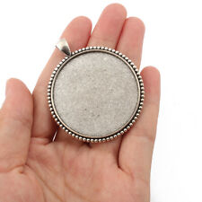 10Pcs Antique Silver 40mm Round Alloy Pendant Trays Blank Bezel/Cabochon Setting