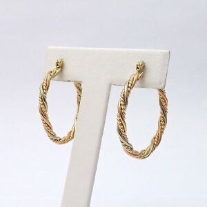 14k Rose White Yellow Tricolor Gold Coiled Rope Hoop Earrings New