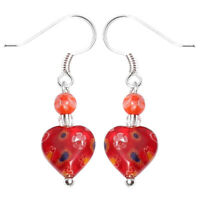 Muranoglas Ohrringe 18 mm Perle Herz rot orange Blumen 925er Sterling Silber Gla