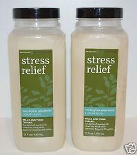 2 BATH BODY WORKS STRESS RELIEF EUCALYPTUS SPEARMINT LUXURY BATH OIL BUBBLE SOAK