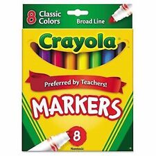 Crayola® Non-Washable Markers, Broad Line, Classic Colors, 8/Set 071662077082