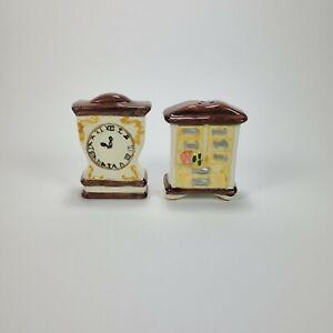 Ceramic Salt And Pepper Clock Dresser