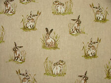 3 Metre Mini Prints Hares & Rabbits Linen Look Fabric Curtain Upholstery Cushion