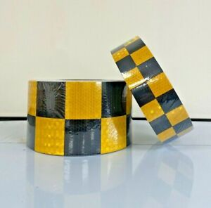 Yellow Black Chequered Reflective Conspicuity Adhesive Tape 50 100mm / 1-40m