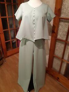 Ladies Pale Green  2 Piece Trouser Suit