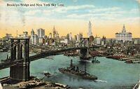 Postcard Brooklyn Bridge New York