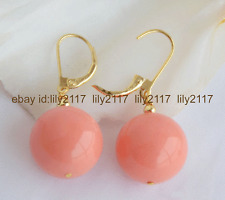 12MM ROUND CORAL PINK SOUTH SEA SHELL PEARL GOLD LEVERBACK DANGLE EARRINGS 14K