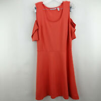 Isaac Mizrahi Live! Cold Shoulder Ponte Knit Fit & Flare Dress  Coral L A289616