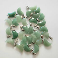 Wholesale 50pcs/lot fashion Natural Green Aventurine Moon Shape Stone Pendants