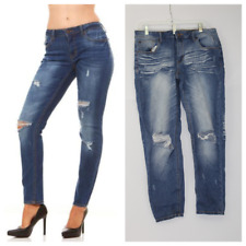 Women's Skinny Destroyed Ripped Faded Denim Jeans - Light Blue - Size 13/14