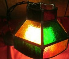 VTG  LAMP FIXTURE STAINED  GLASS PANELS LEADED CEILING MOUNT LIGHT MID CENTURY