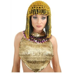 Cleopatra Costume Wig with Beaded Headpiece Adult Sexy Egyptian Queen Halloween
