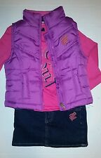 Rocawear Girls Set 3 Piece Outfit Puffer Vest, Jean Skirt & Shirt Size 24 Month