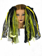 Dreadful Falls Bumble Bee Black & Yellow Ribbon Gothic Fairy Hair Falls