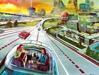 DRAWING FUTURISTIC 1974 AUTOPILOT CAR NEW ART PRINT POSTER PICTURE CC3094