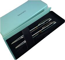 Tiffany & Co. T Clip Ballpoint Pen & Mechanical Pencil Silver/Gold In Case New