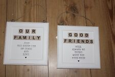 WOOD SIGN ,HANGING ,GOOD FRIENDS OR OUR FAMILY ,CHOICE OF TWO S