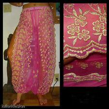Harem Pants Belly Dance Fuchsia Pink w/ Gold Brocade Slit 1