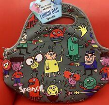 Cooler Lunch Bag Washable,School Office Picnic-Neoprene W Zip 30X28 Alien Attack