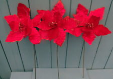 3 x  Artificial Red Poinsettia Flowers