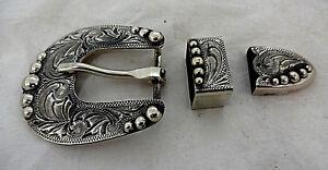 Antiqued Manzanillo 3 Piece Belt Buckle Loop Tip Hansen Western Silver Plate New