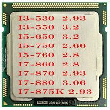 LOT Intel i3-530 i3-550 i5-650 i5-750 i5-760 i7-860 i7-870 i7-880 i7-875K CPU