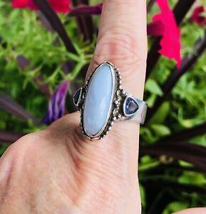 SAJEN Sterling Silver 925 Blue Chalcedony & Iolite Size 8 1/2 Adj Ring 12.3 Gr