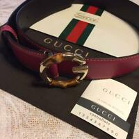 GUCCI Belt G Bamboo Buckle Red Fuchsia Leather size 85/34 authentic