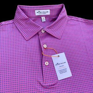 Peter Millar Crown Sport Summer Comfort Geometric Print Polo Shirt Medium $98