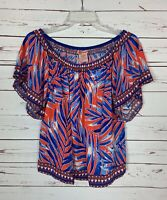 Flying Tomato Anthropologie Women's M Medium Blue Cute Spring Summer Top Blouse
