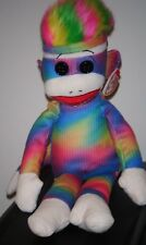 Ty Beanie Buddy - RAINBOW SOCK MONKEY (Medium ~ 16 inch) ~ MWMT'S ~ RARE Plush