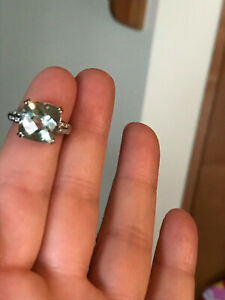 14K White Gold Prasiolite Green Amethyst Diamond Ring  4.9 gr