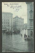Trieste - Via del Torrente - Animata con Tram - Viaggiata