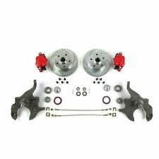 "1964 - 1972 Chevy A-Body 2"" Drop Disc Brake Conversion Kit Chevelle Red Calipers"