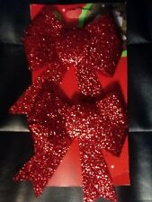 Pack of 2 15cm Glittered Christmas Bows Festive Tree Decorations Seasonal RED